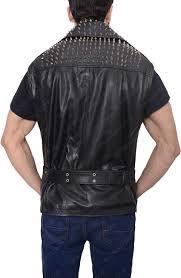 mens studded belted vest
