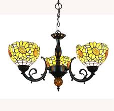 fumat tiffany style stained glass chandelier sunflower design