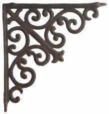 cast iron wall shelf bracket ornate curl pattern rust brown 10 deep