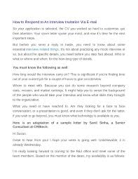 Reply To Interview Invitation Email Sample How To Respond To An Interview Invitation Via E Mail