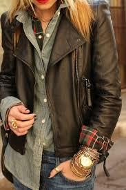 women s dark brown leather biker jacket green and red plaid dress shirt grey denim shirt navy skinny jeans women s fashion lookastic com