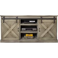 farmhouse 66 tv stand console in distressed aged grey w sliding barn doors