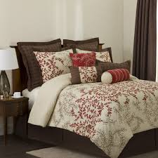 Broken White Leaves Pattern Quilt Comforter Set With Large Brown Cushions  Combined With Brown Drapes Curtain. Bedroom ...