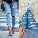Фото модные рваные джинсы 190