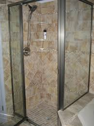 Brick backsplash tile small corner shower stalls corner shower