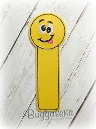 Emoji Embroidery Designs Silly Emoji Bookmark Embroidery Design