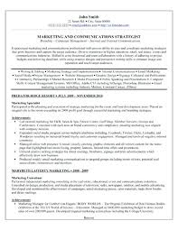 Marketing Communications Specialist Resume Resume For Someone With