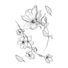 временная тату китайская роза и сакура черно белая