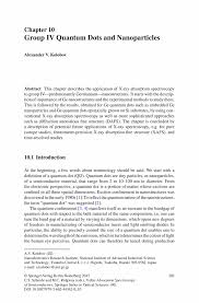 Group Iv Quantum Dots And Nanoparticles Springer