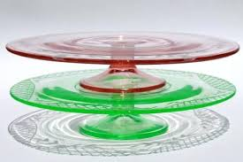 vintage pink green depression glass cake stands etched pedestal plates stand