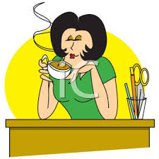 secretary desk clipart. Contemporary Desk Secretary Enjoying A Cup Of Coffee At Her Desk  Royalty Free Clipart Image For