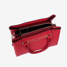 premium red full grain leather tote bag for women
