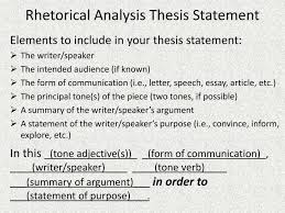 examples of rhetorical essays ppt rhetorical analysis thesis statement powerpoint presentation