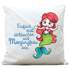 Kissen Kleines Meermädchen Mit Spruch Polyester