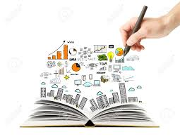 1300x1012 hand drawing business scheme and open book stock photo picture
