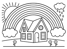This page contains of house coloring pages and house coloring. House And Rainbow Coloring Page Free Printable Coloring Pages For Kids