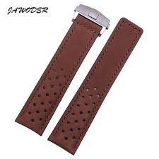 jawoder watchband men 22mm brown holes soft scrub genuine leather watch band strap stainless steel deployment buckle for t a g 21mm watch band 16mm watch
