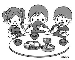 食育みんなで食事モノクロ 子供と動物のイラスト屋さん わたなべふみ
