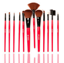 professional 12 piece cosmetic brush set made with natural hair bristles pouch included red