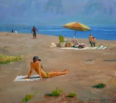 beach scene oil painting i painted this quickly at the beach on a day when the light was not too intense the ocean and the sky melted together