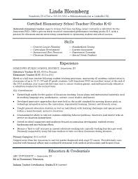 Sample Resume For Elementary Teachers Elementary School Teacher