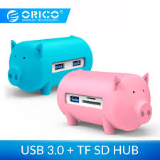 <b>ORICO Cute Pig 4</b> Ports USB 3.0 OTG Hub USB Splitter Support TF ...