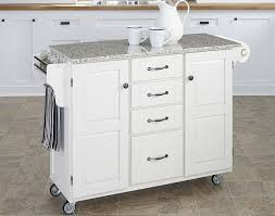 rolling white kitchen island with granite top