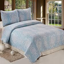 3pc reversible printed quilt set queen size light blue