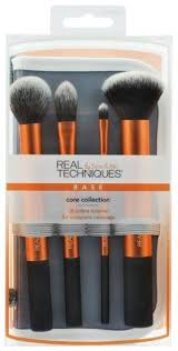 the real techniques core collection set includes a contour brush pointed foundation brush detailer brush and buffing brush ideal for everything from