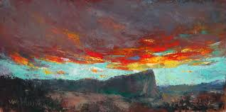 sunset over inscription rock 6x12 oil cold wax by michael chesley johnson