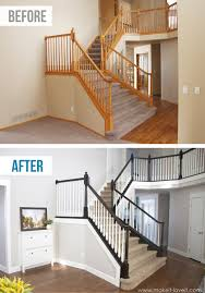 Best Paint For Stairs Diy How To Stain And Paint An Oak Banister Spindles And Newel