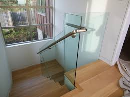 glass Handrails For Stairs With Wooden Treads Ideas With Glass Window And  White Wall