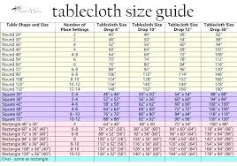 Rectangle Tablecloth Chart Round Tablecloth Sizes