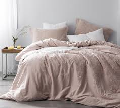 baroque stitch queen duvet cover oversized queen xl ice pink fawn embroidery