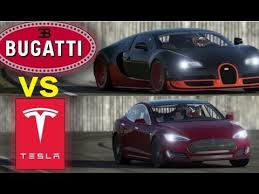 The bugatti veyron had a futuristic design at the time when it was introduced, but a car is bound to look dated without redesign for a decade. Tesla Roadster Vs Bugatti Chiron Race Supercars Gallery