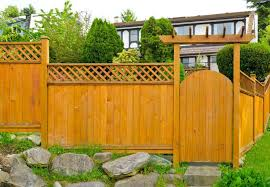 wood fence backyard. Lattice Top Wood Gate And Fence In The Front Yard Backyard D
