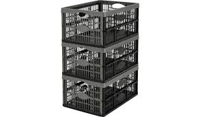 Buy Argos Home 32 Litre <b>Plastic Folding Storage Crates</b>- Set of 3 ...