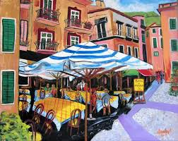 romantic italy cafe wine original art painting dan byl new modern signed canvas