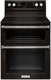 kitchenaid 30 inch double oven electric range black stainless steel ykfed500ebs