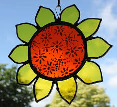 stained glass flowers work
