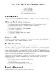 Samples Of Career Objectives For Resumes Entry Level Resume Objective Samples Analyst Financial