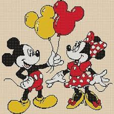 Details About Cross Stitch Chart Mickey Mouse And Minnie Balloons Flowerpower37 Uk