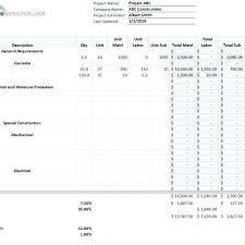 Construction Bid Template Free Microsoft Office Sample Construction Bid Sheet Template Contract Form Plates Free