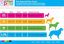 Apparel Size Chart Platinum Pets Usa