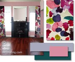 furniture color matching. contemporary curtain in vivid colors against pink walls and a cherry wood floor furniture color matching
