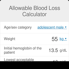 Hemoglobin To Hematocrit Conversion Chart Allowable Blood Loss Calculator Formula Omni
