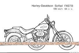 Coloriage Moto Harley Davidson Softail Fxstb Dessin