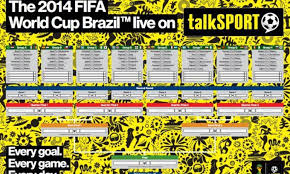 2014 World Cup Wallchart Schedule Fixtures And Groups