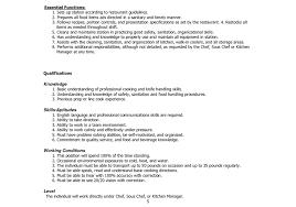 cover letter enchanting job description example cook job description executive chef sample job description line cook food server job description