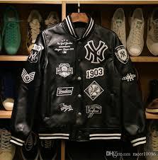 mlb men jackets 2017 brand caual mens new york yankees genuine leather coat fashion hip hop